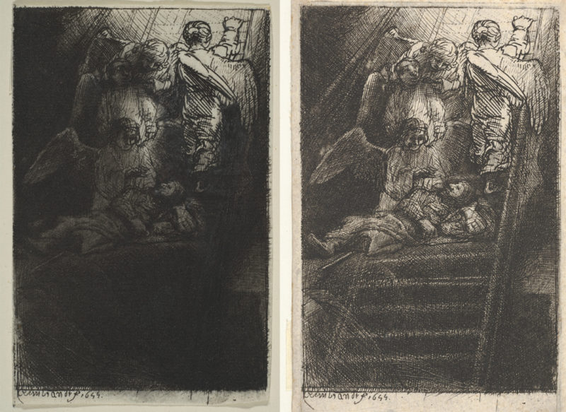 "Rembrandt van Rijn, two impressions of Jacob's Ladder, 1655, etching and drypoint, 4⅝"" x 3⅛"", Collection of the Metropolitan Museum of Art, New York."