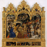 "Gentile da Fabriano, The Adoration of the Magi, 1423, tempera paint and gold on panel, 80"" x 111"", Uffizi Gallery, Florence, Photo via Wikimedia Commons"