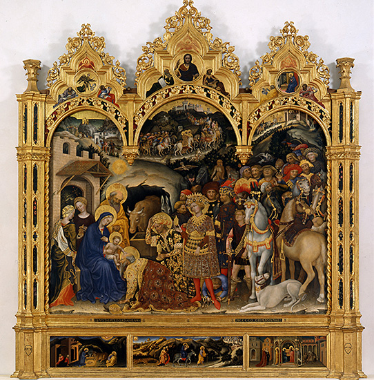 """Gentile da Fabriano, The Adoration of the Magi, 1423, tempera paint and gold on panel, 80"""" x 111"""", Uffizi Gallery, Florence, Photo via Wikimedia Commons"""